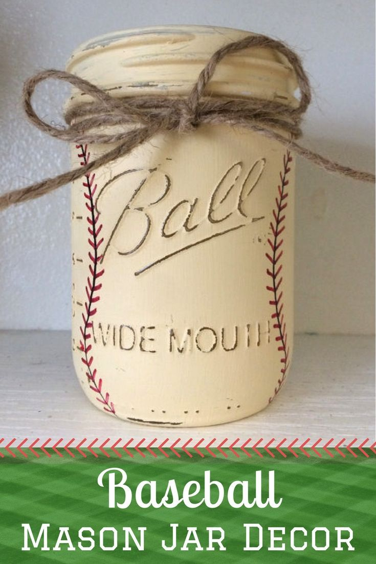 These handpainted baseball mason jars would be perfect for a baby