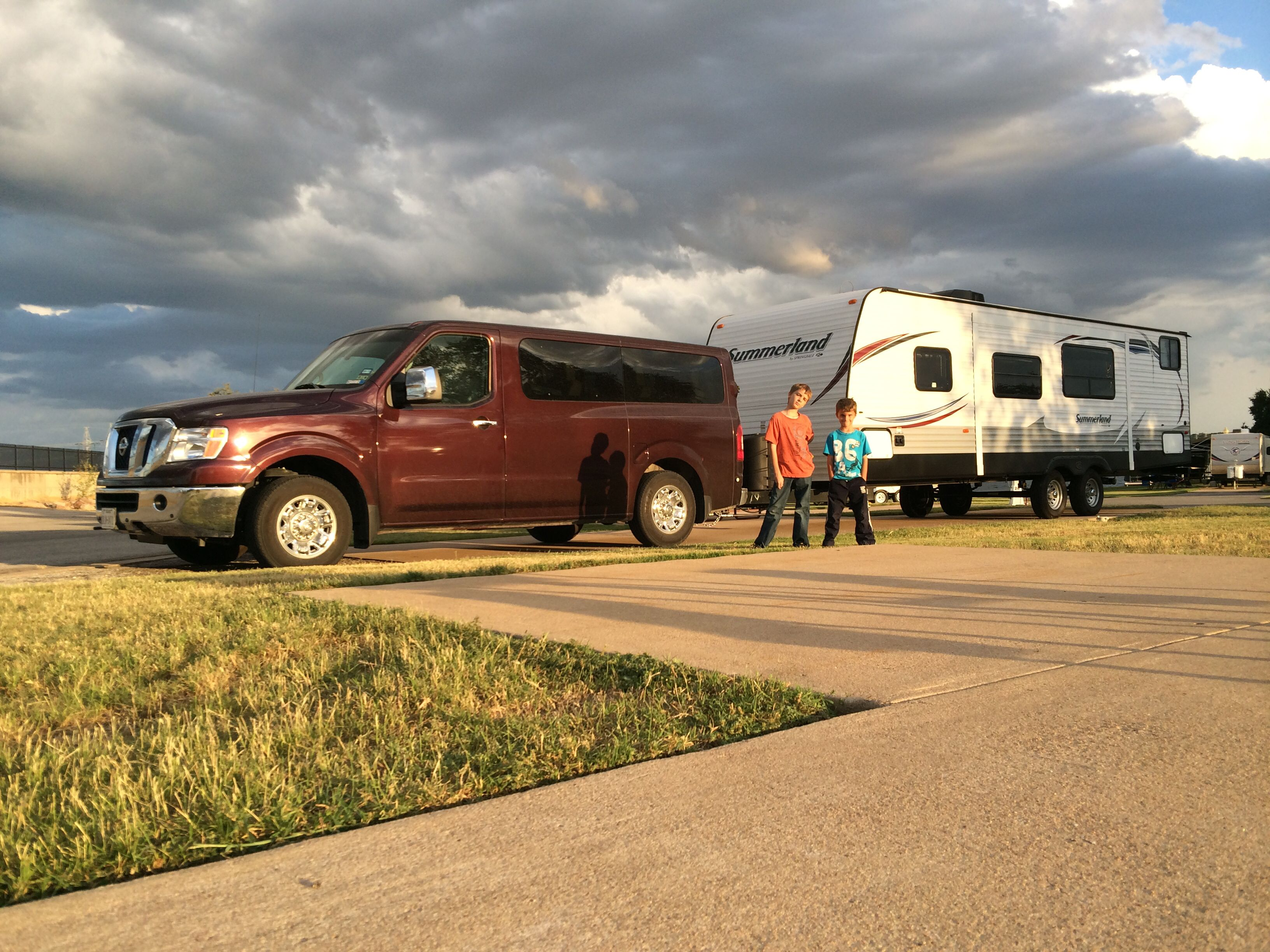 The Nissan Nv Passenger 3500 Sl Tows Our Travel Trailer All Over