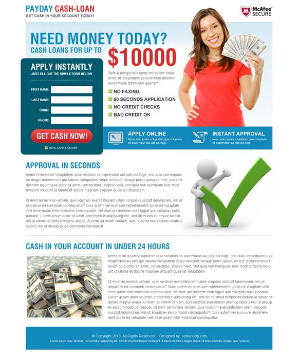 Payday loan and payday cash loan in advance landing page design - loan templates
