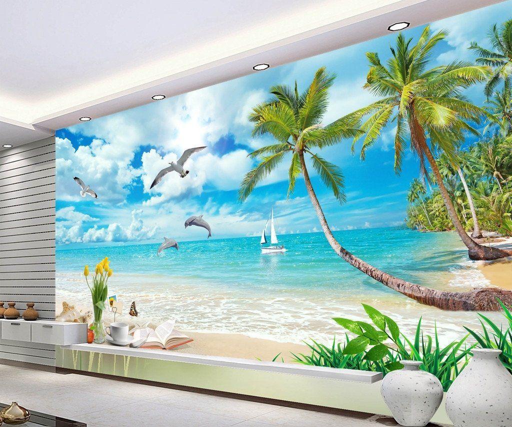 Dolphin Bay Lovers Hawaii Mediterranean Landscape Wallpaper Idcwp Dz 000051 Landscape Wallpaper Tree Wallpaper Mural 3d Wallpaper Beach