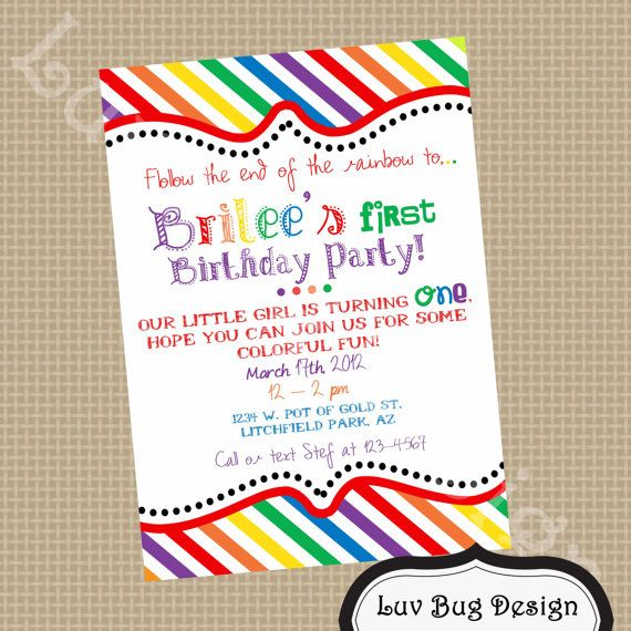 PRINTABLE Rainbow Birthday Party Invite DIY By Luvbugdesign 1200