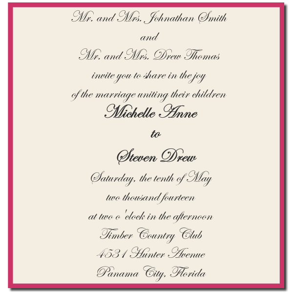 Sample Wedding Wording