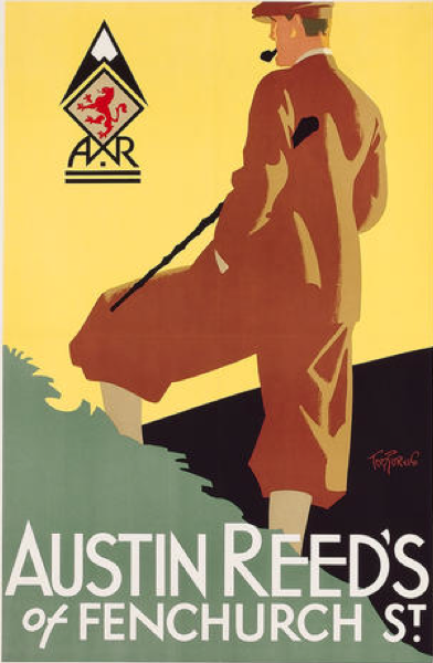 By Tom Purvis 1888 1959 Ca 1930 Austin Reed S Of Regent Street He Served With The Artists Rifles I Vintage Poster Art Vintage Posters Vintage Illustration
