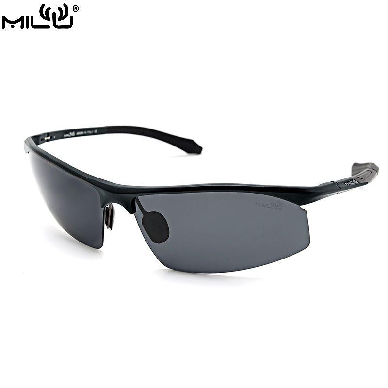 9e2775f10e04 MILU Luxury Brand Logo Sunglasses For Men Aluminum Polarized Outdoor Sport  Fishing Aviator Accessories oculos masculino