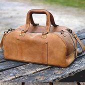 Photo of Leather Duffel Bag With Laptop Compartment, Vintage Cowhide Leather Weekender Ba…