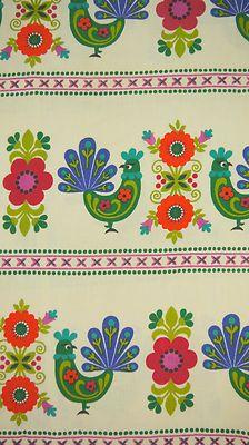 Vintage 70s 1970s Dekoplus Rooster Chicken Flower Fabric Pair Curtains