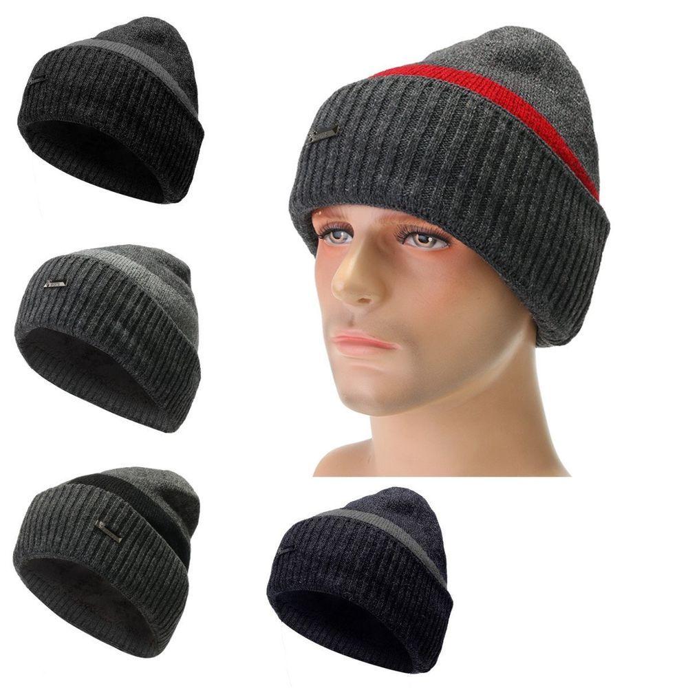 a174eb70fda Men Camping Hat Winter Beanie Baggy Warm Wool Fleece Ski Cap