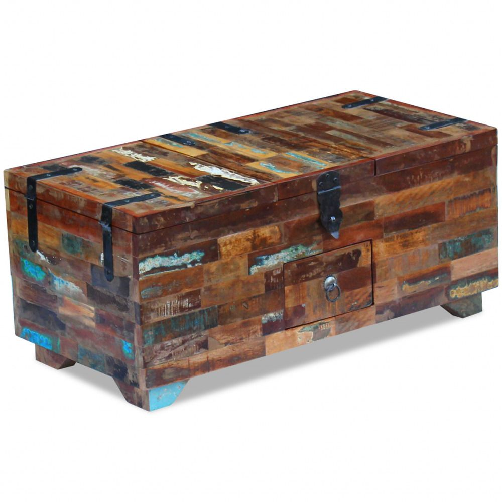 Chest coffee table box solid reclaimed wood side storage living chest coffee table box solid reclaimed wood side storage living room handmade geotapseo Gallery