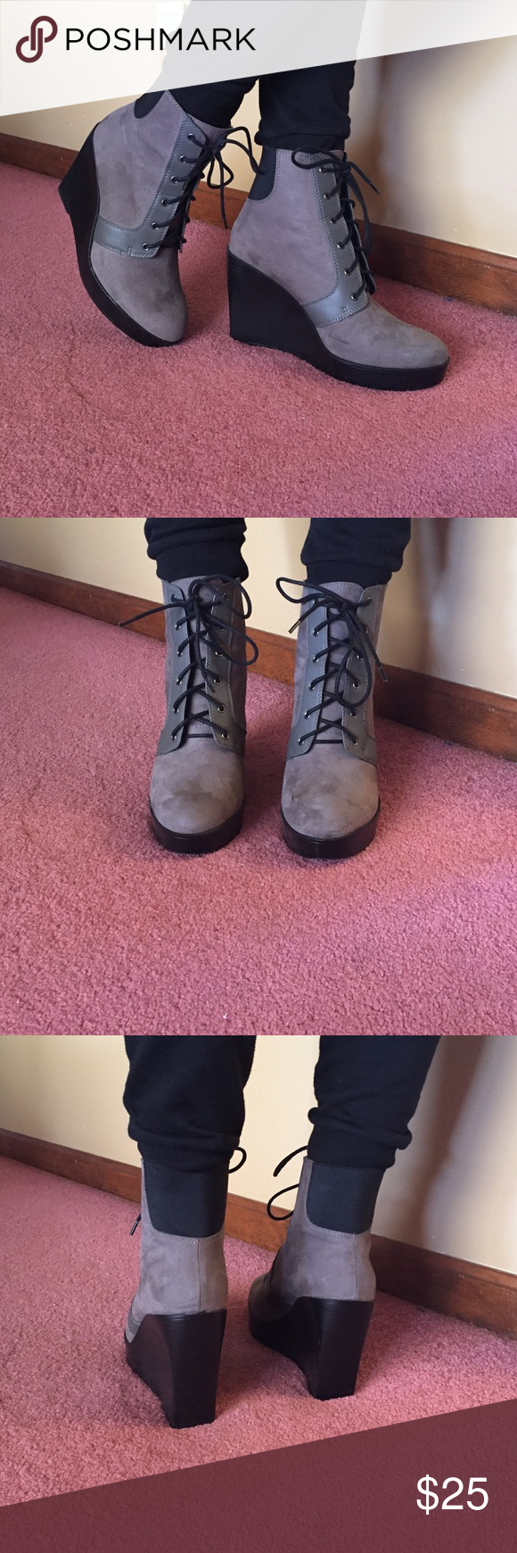 """Grey Suede Zara Wedge Boots Grey Suede Zara Wedge Boots. Size Euro 40. Lace up front with black elastic at back of ankle. Heel height is 4"""" with approximately 1"""" platform. Runs a little small... fits my size 81/2 foot. Zara Shoes Lace Up Boots"""