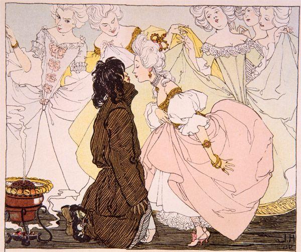 """Heinrich Lefler, illustration from """"Die Prinzessin und die Schweinehirt"""" (The Princess and the Pigman) by Hans Christian Andersen, 1897"""
