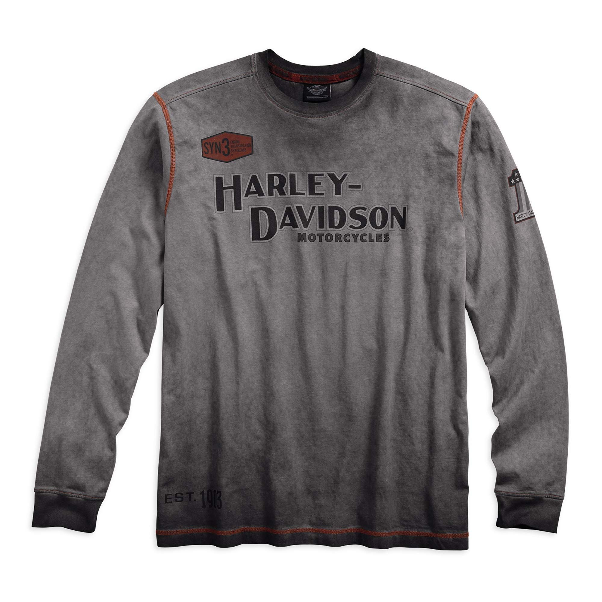 Harley Davidson Official Mens Iron Block Long Sleeve Tee Grey With Images Long Sleeve Shirt Men Long Sleeve Tshirt Men Men Shirt Style