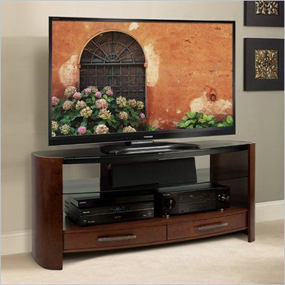 Bello Curved Wood Tv Stand In Vibrant Espresso Cw355 Lowest