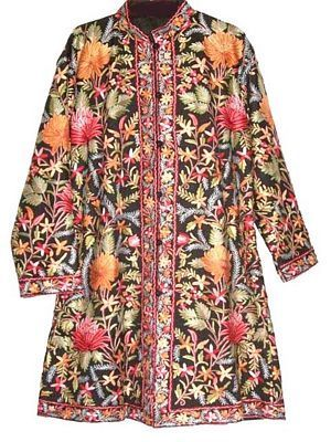 a918cd0b2e51 Wool Coat Black in Multicolor Embroidery  AO-118 - Best of Kashmir