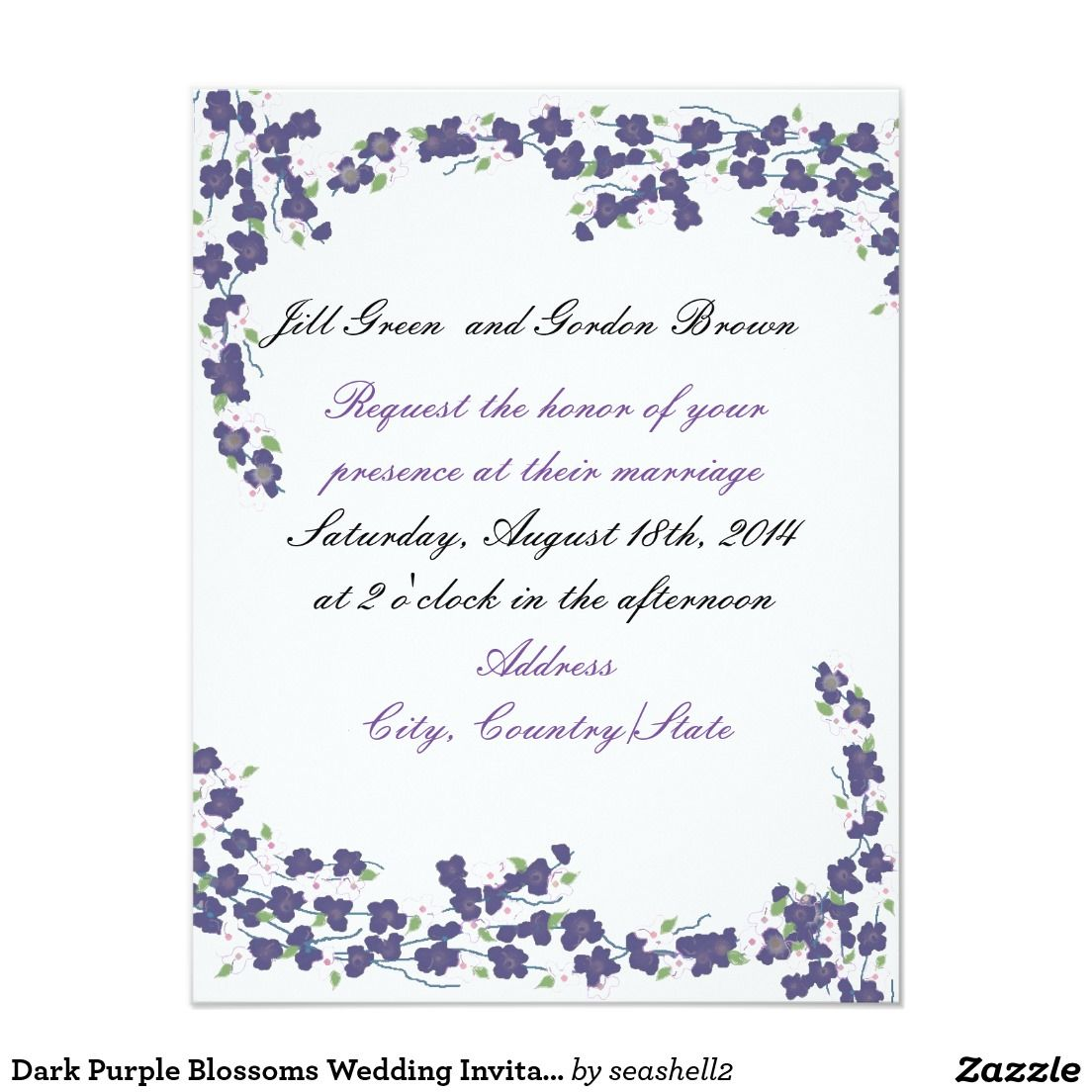 Dark Purple Blossoms Wedding Invitation | Dark purple, Weddings and ...