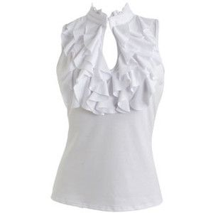 Ruffle Neck Keyhole Top - Teen Clothing by Wet Seal