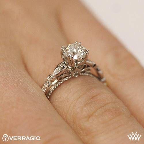 Verragio D 100 Scalloped Diamond Engagement Ring 3129 White Gold Engagement Rings Vintage Aquamarine Engagement Ring Vintage Blue Sapphire Engagement Ring Halo