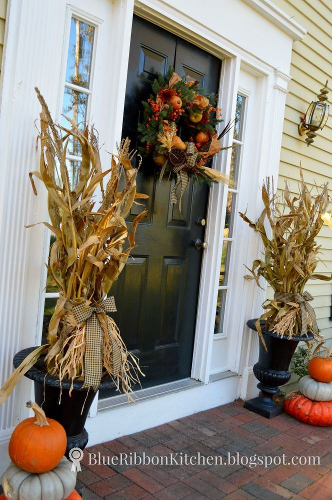 Harvest Front Door Stacked Pumpkins And Corn Stalk Urns Fall Decorations Porch Fall Outdoor Decor Fall Front Porch Decor