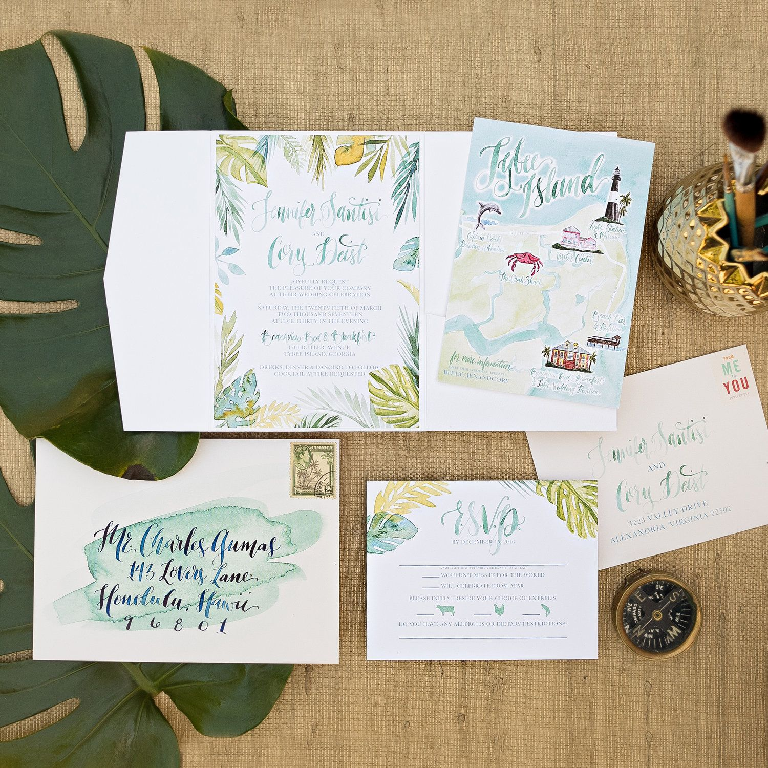 Tropical Watercolor Wedding Invitation Island We Watercolor