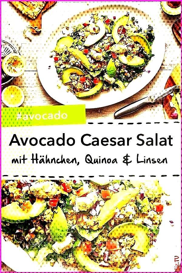 Caesar Salat mit H hnchen Quinoa und roten Linsen Avocado Caesar Salat mit H hnchen Quinoa Avocado