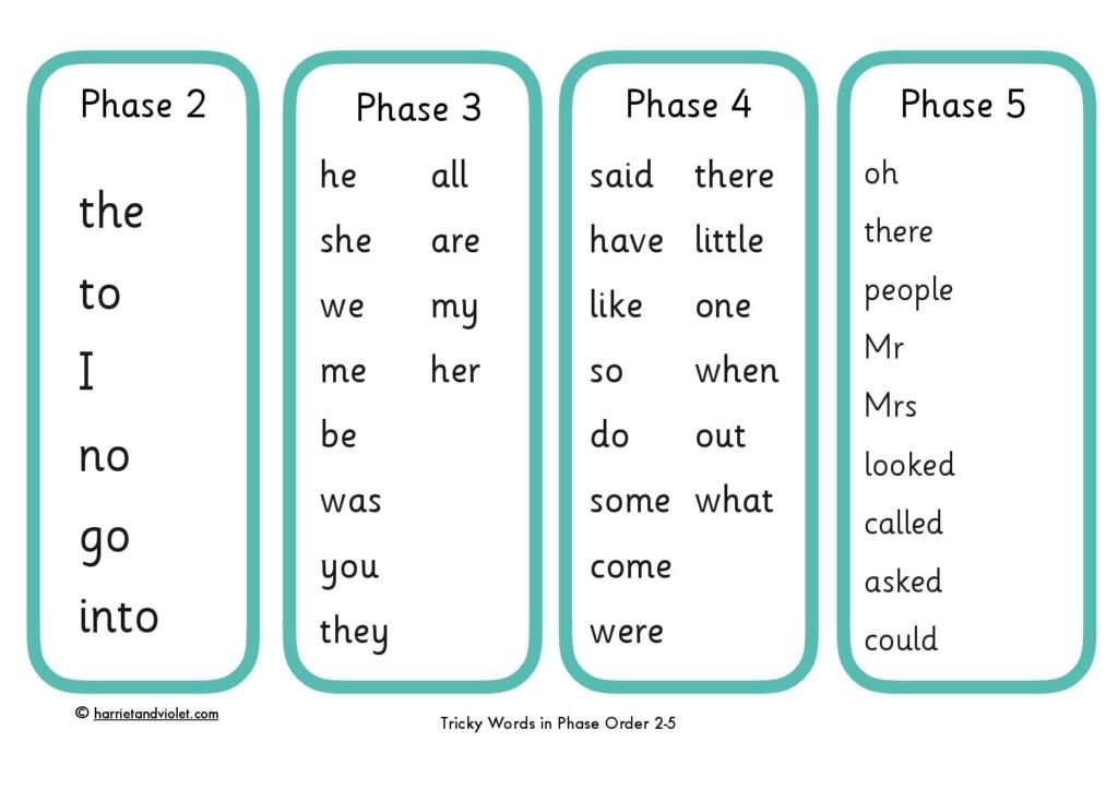Image result for tricky words phase 1 and 2 RWI""