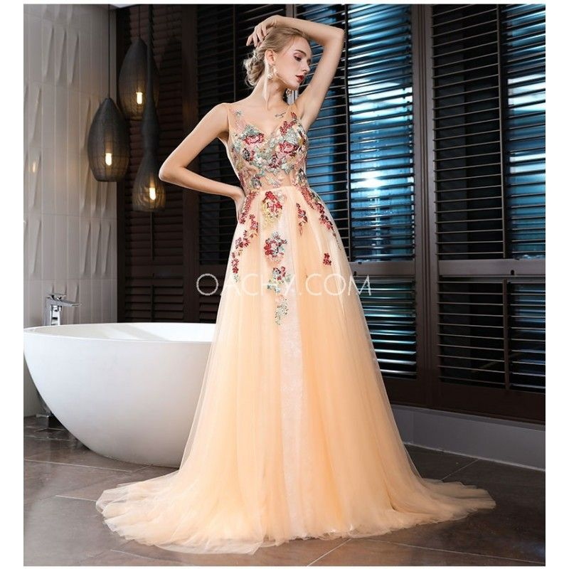 2017 Summer Flower Princess Deep V-neck A-Line Sleeveless Long Skirt Three-piece Dress - OACHY The Boutique #skirt, #dress, #summer, #piece, #oachy