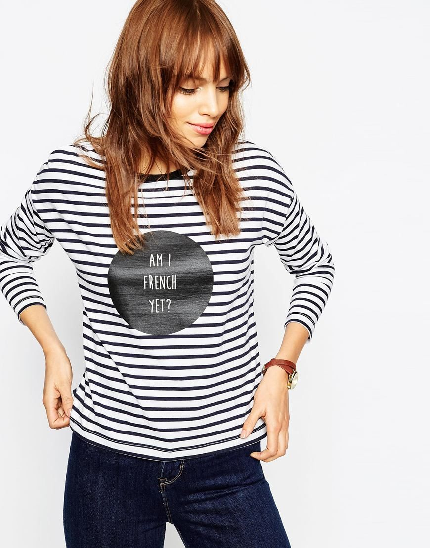 Asos striped tee with am i french yet slogan my style for Asos design free t shirt
