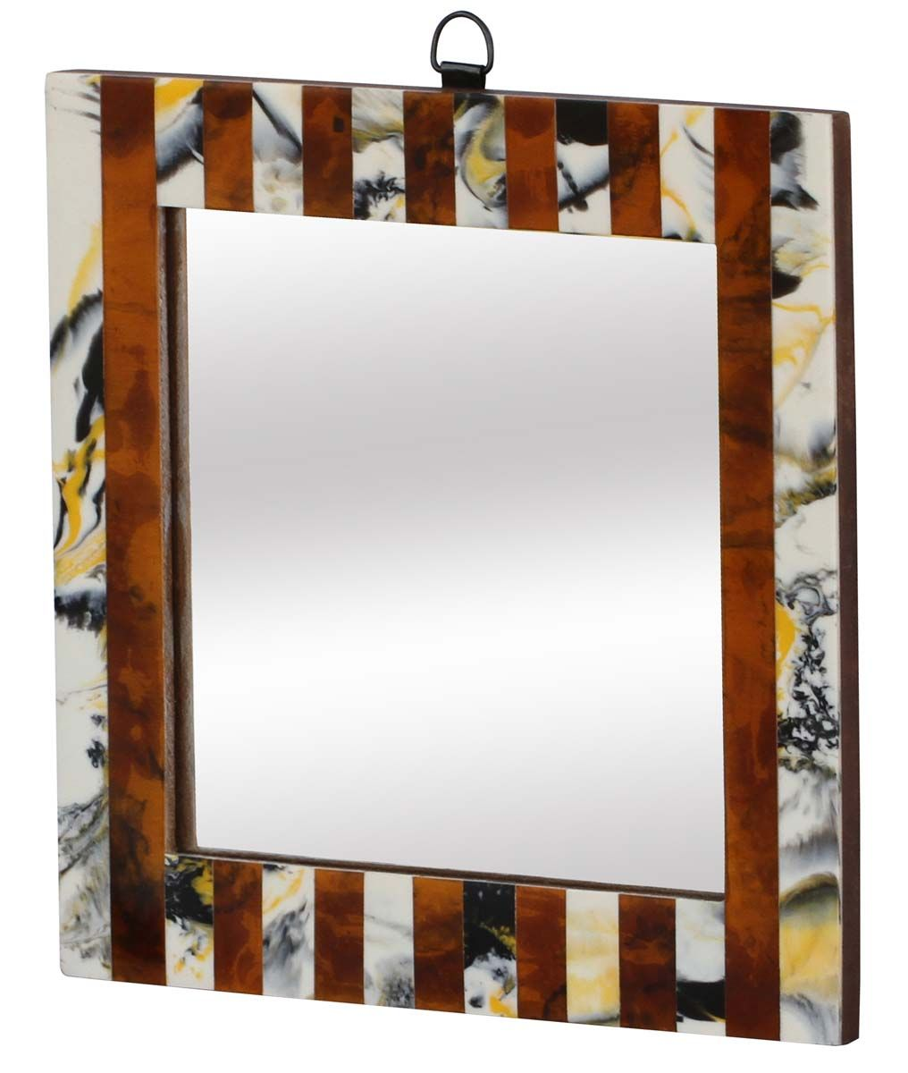 Bulk Wholesale Handmade Rectangle Shape Wall Mounted Mirror In Compressed Wood Decorated With Striped Pattern Abstr Wall Mounted Mirror Mirror Decor Mirror