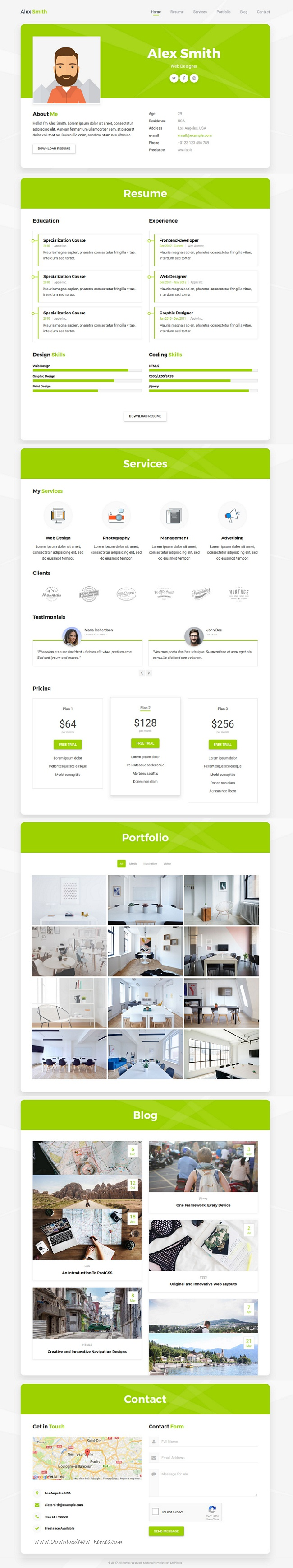 ProCard is clean and modern design #HTML template for professional #resume, #CV, vCard and portfolio showcase website download now..
