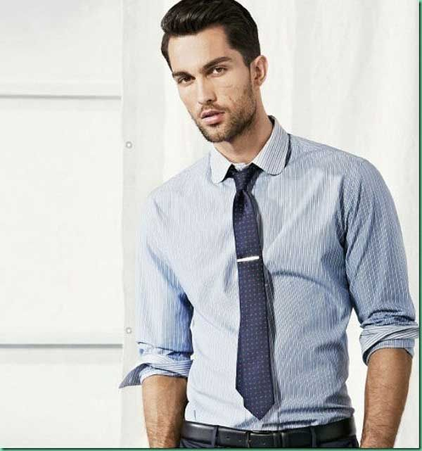H.E Mango light blue striped shirt. navy dot tie. navy slacks ...