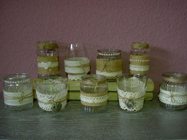 Hochzeitsdeko - ❤️ 9  Teelichter Tischdeko Hochzeit Jute Vintage - ein Designerstück von Okie-dokie bei DaWanda
