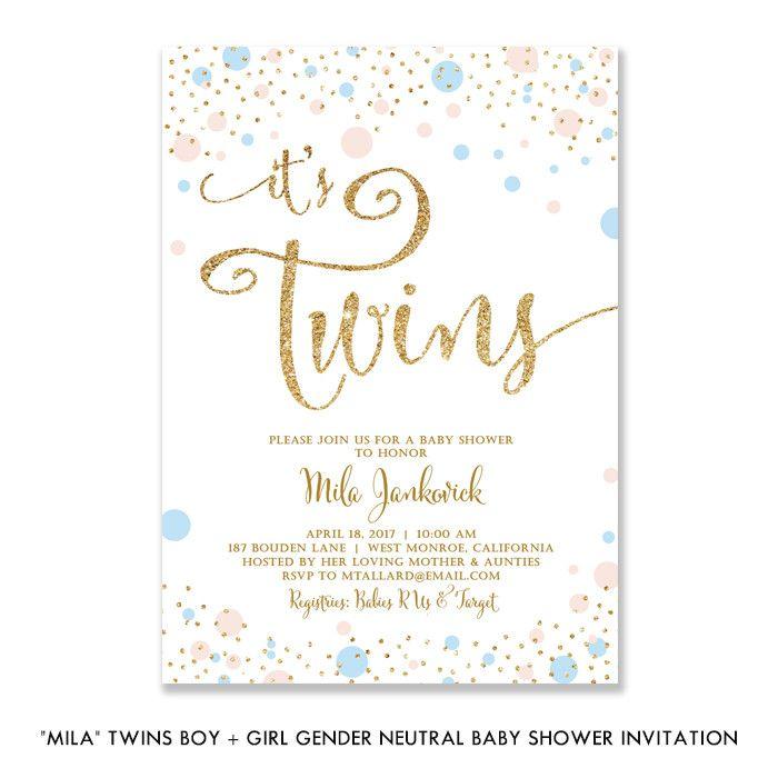 Mila twins boy girl gender neutral baby shower invitation twin mila twins boy girl gender neutral baby shower invitation filmwisefo Image collections