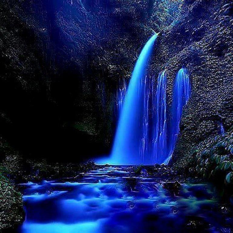 Картинки водопад ночью