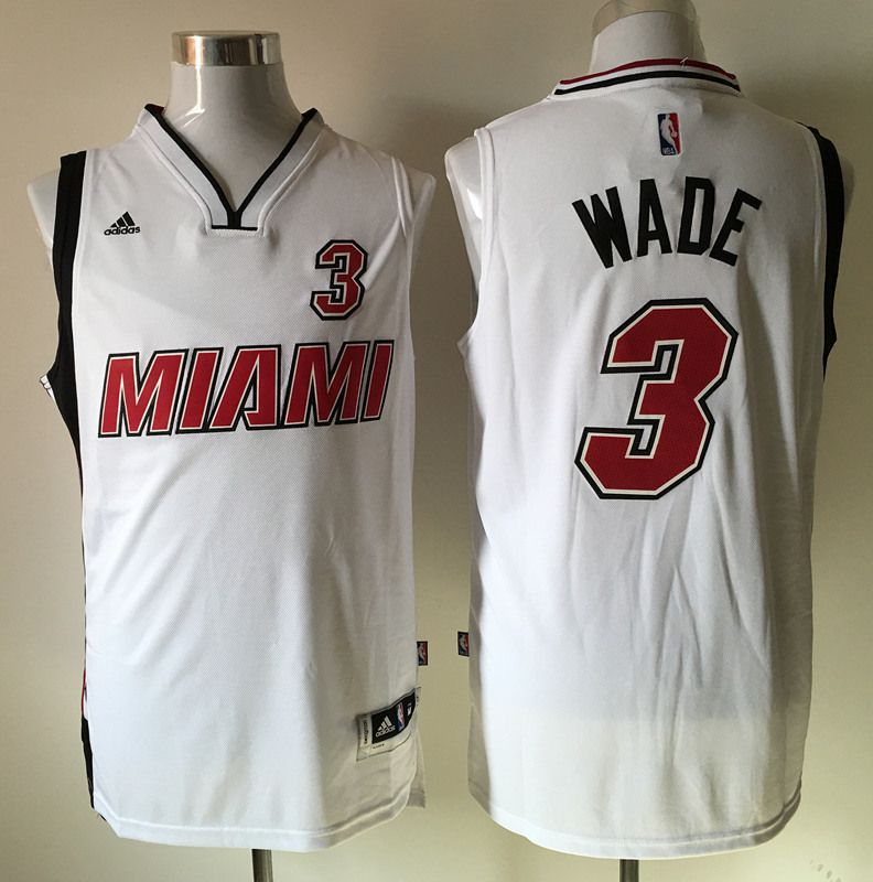 best sneakers 617e7 f2186 Miami Heat #3 Wade White Throwback New Material Men 2017 New ...