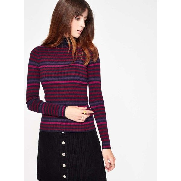 30 Purple Jumper Selfridge Miss Striped Neck Navy Knitted And Roll qzxvTtOw