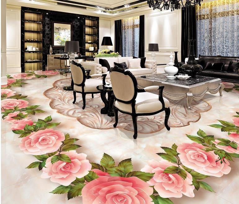 Embossed Rose Soundproof Flooring Wallpaper 3d Custom Pattern
