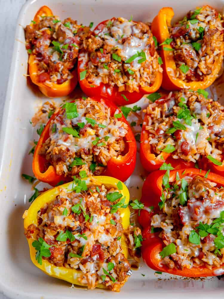 Hot Italian Sausage Stuffed Peppers Girl With The Iron Cast Recipe In 2020 Stuffed Peppers Hot Italian Sausage Recipes Pork Recipes Easy
