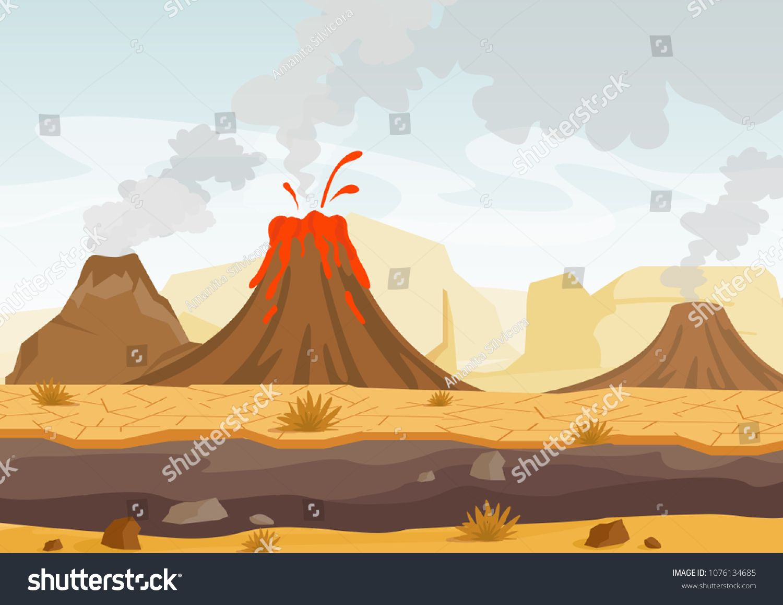 Vector Illustration Of Prehistoric Landscape With Volcano Eruption Lava And Smoky Sky Landscape With Cute Monsters Drawings Vector Illustration Plant Cartoon