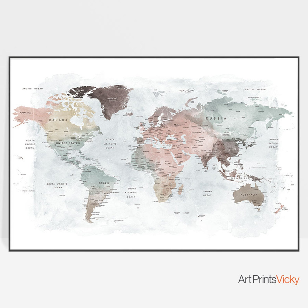 Detailed world map unique world map poster watercolor