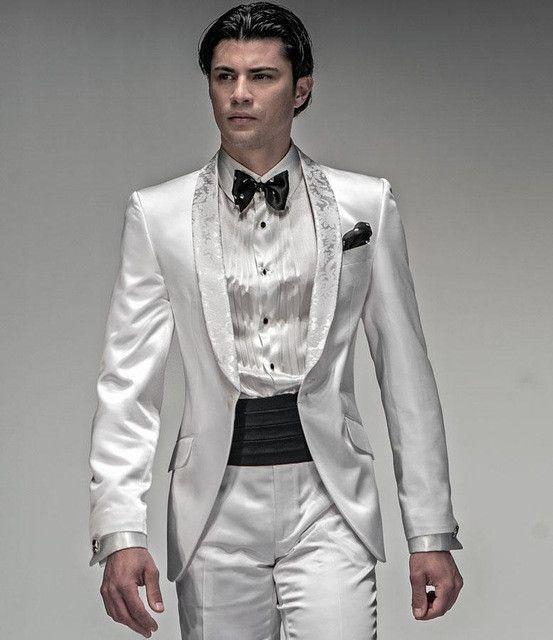 New Arrival New Style Groom Tuxedos White Suit black Lapel Wedding ...