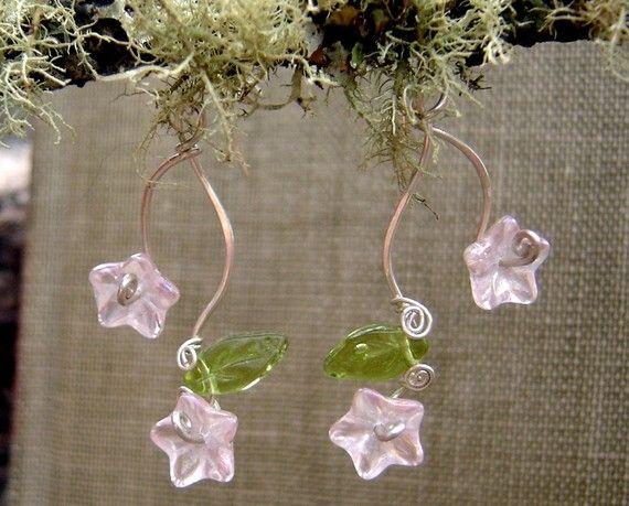 Pink Flowers and Tendrils Glass Earrings  by nicholasandfelice