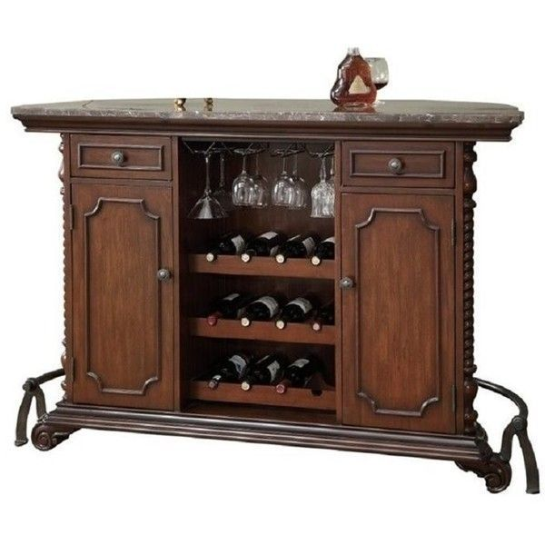 Coaster Traditional Home Bar Unit With Marble Top 1 520 Cad Liked On Polyvore Featuring Furniture Storage Shelves Cabinets Cherr