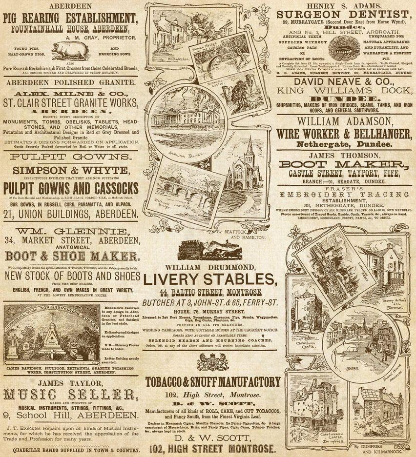 Vintage Scottish Ads By Aurorabor Vintage Newspaper Vintage Printables Vintage Paper