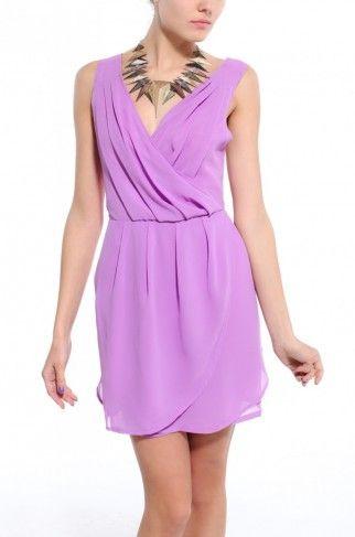 Cross Back Chiffon Sleeveless Dress in Lilac SemiFormal Option