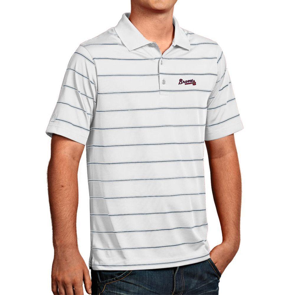 015c7e6796ea8f Atlanta Braves MLB Deluxe Mens Polo Shirt White Silver