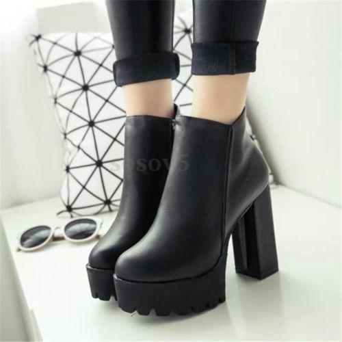 5595a46ae2452 Mujer-Plataforma-Alto-Tacon-Tobillo-Botas-Botines-Faux-Cuero-Zapatos -Negro-Otono