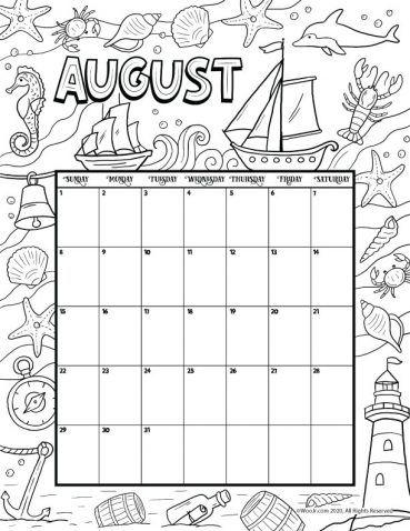August 2021 Printable Calendar Page | Woo! Jr. Kids ...