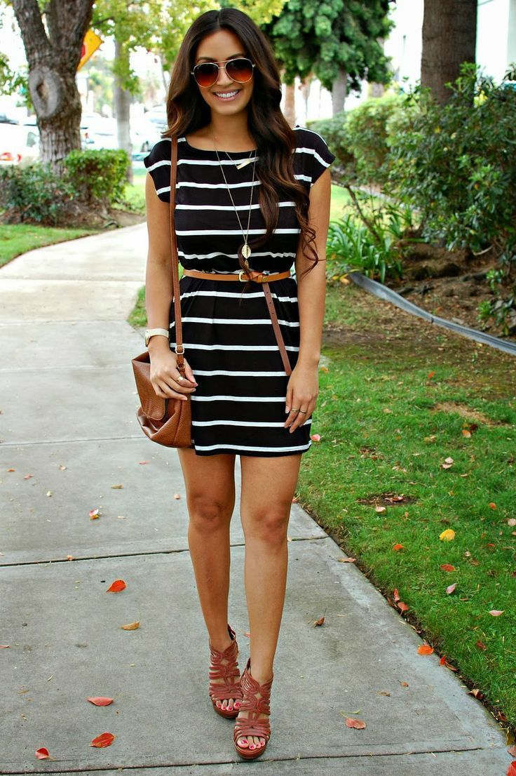 Black And White Dress With Purse And Brown Wedges Dress Shoes Style Summer Fashion Wedges Fashion And Style Strip Black Dress Style Cute Spring Outfits Fashion [ 1106 x 736 Pixel ]