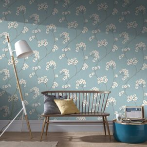 Radiance Blue and Cream Wallpaper
