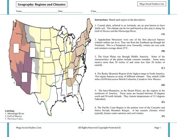 Climate Regions Of The United States Map Geography Activities - Sierra nevada mountains on us map