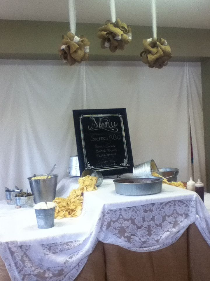 Awesome food table with menu for a simple wedding!